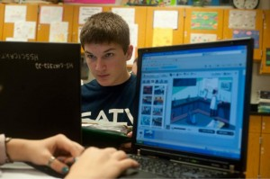 Paul Zalakar, 14, a freshman in Shaler Area High School, works on a project on Friday, Dec. 7, 2012. Image credit: Justin Merriman, Tribune-Review