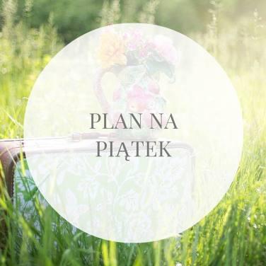 Obrazek przedstawia tekst Plan na piątek wpisany w transparentne koło. W tle znajduje się dzban z kwiatami postawiony na walizce ustawionej w trawie na łące.