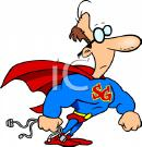 Cartoon image of middle aged geeky superman.