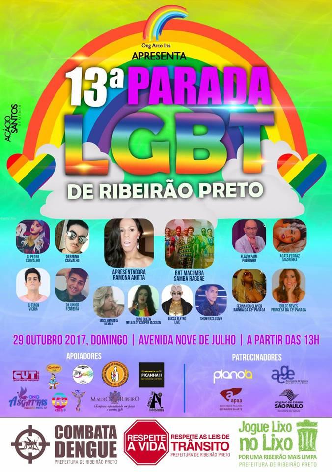 13ª Parada do Orgulho LGBT de Ribeirão Preto acontece no dia 29 de outubro