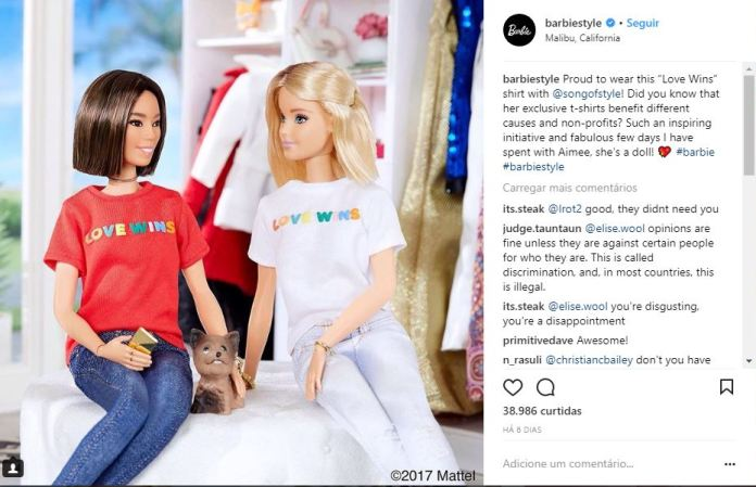 """Proud to wear this 'Love Wins' shirt with @songofstyle! Did you know that her exclusive t-shirts benefit different causes and non-profits? Such an inspiring initiative and fabulous few days I have spent with Aimee, she's a doll! 💖 #barbie #barbiestyle"""