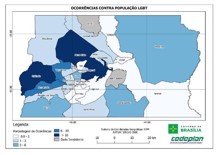 Mapa mostra regiões do DF onde foram feitas denúncias de crimes de homofobia e transfobia (Foto: Codeplan/Reprodução)