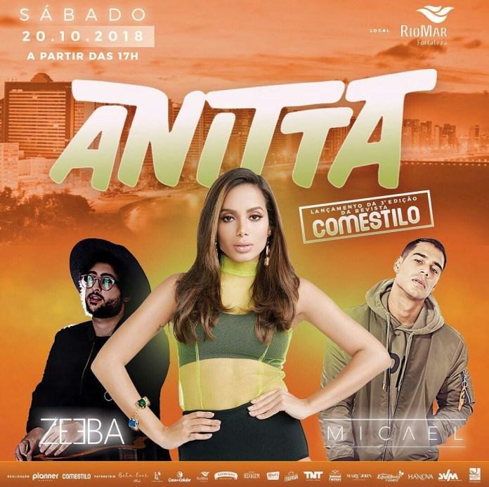 Anitta Antes dela, sobem ao palco o cantor e ator Micael Borges, lançado pela cantora, e o cantor estadunidense filho de brasileiros Zeeba, conhecido pelas parcerias com o DJ Alok.