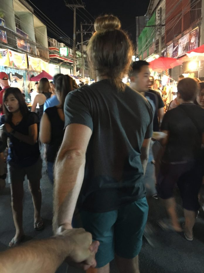 Checking out the sunday night market in Chiang Mai