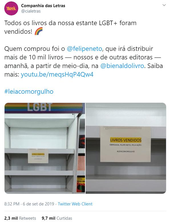 Tweet da Companhia das Letras