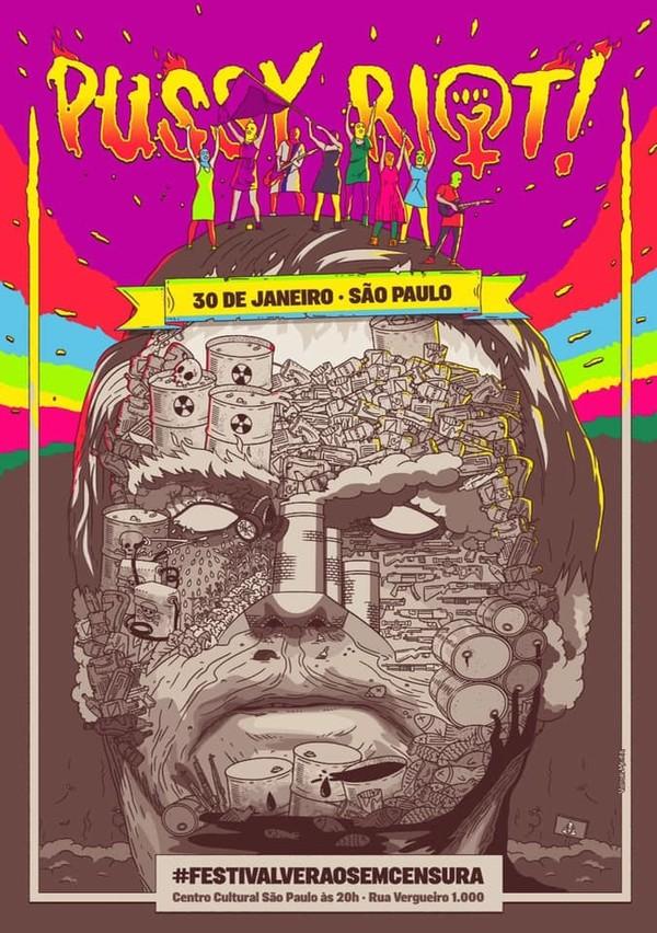 O pôster de divulgação da apresentação mostra o rosto do presidente Jair Bolsonaro desenhado com diversos tipos de lixos, fazendo uma dura crítica ao atual presidente da república (Foto: Reprodução)