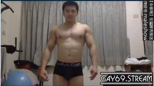 Chinese hunk being whorely in front of cam with his long cock_180421