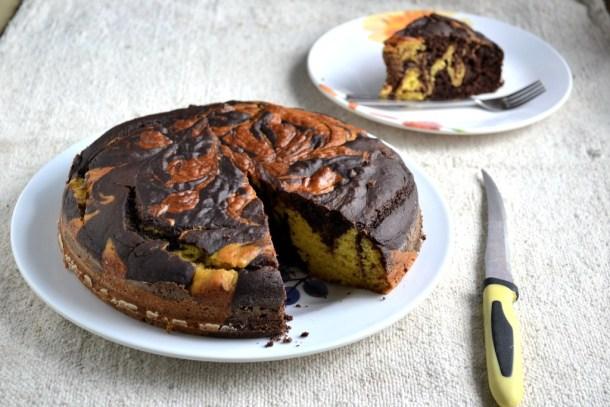 Eggless Butterless Mango Marble Cake