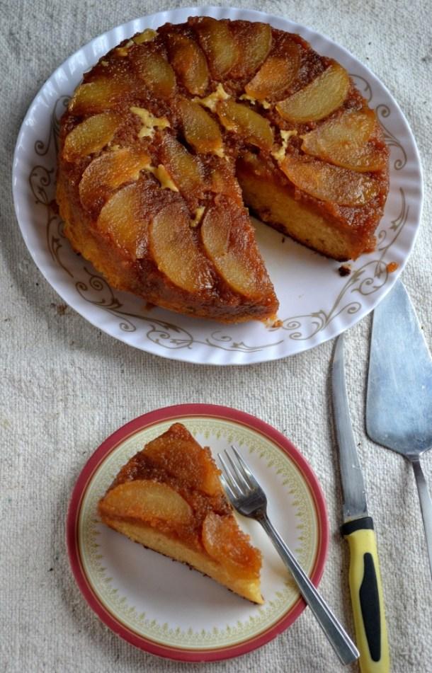 Eggless Pear Upside Cake