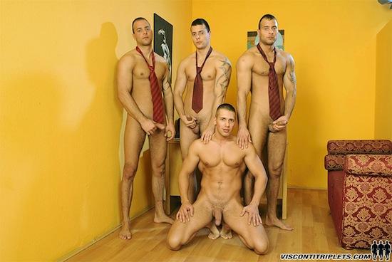 Handsome guys foursome