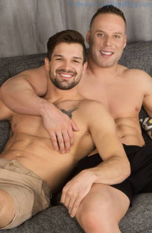 Shirtless jocks sitting together on a couch before fucking bareback for the Sean Cody gay porn site