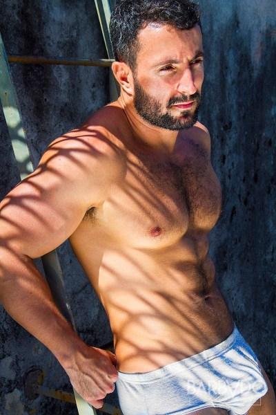 hairy muscle hunk in bulging underwear