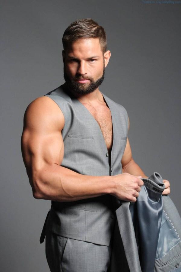 bearded hunk Markus Ricci in a grey waistcoat
