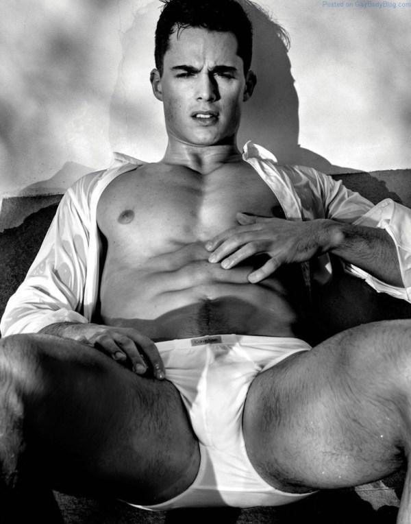 handsome jock in white underwear