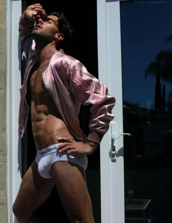 sexy Australian model Mitchell Wick in white underwear