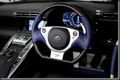 Lexus LFA supercar featuring black and blue interior