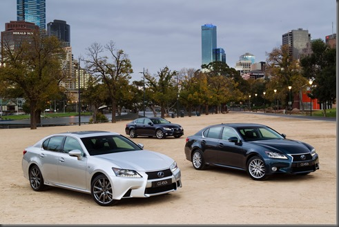 2012 Lexus GS 450h range - F Sport (left), Sports Luxury (right) and Luxury (rear)