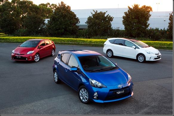 2012 Toyota Prius c i-Tech (centre), Prius (left) and Prius v