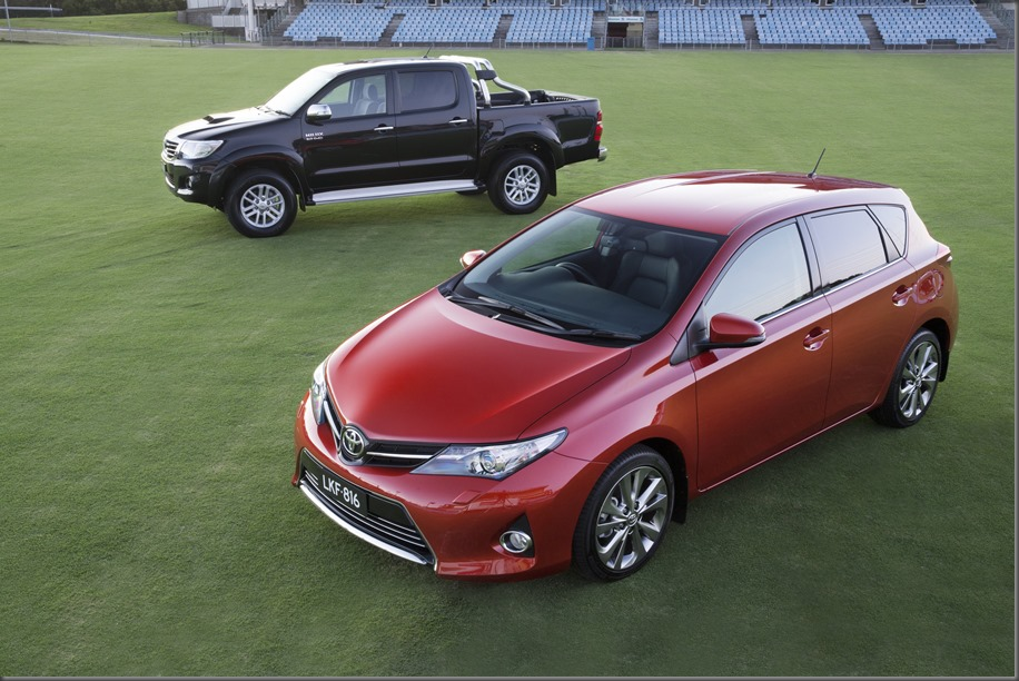 Two of Australia's three best sellers: Toyota Corolla and HiLux