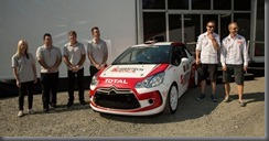 Citroën Joins ARC  L to R Julia Barkley (Co Driver), Tim Batten (Co Driver), Tony Sullens (Driver), and Adrian Coppin (Driver) and Kris Meeke (WRC rally driver), Mikko Hirvonen (WRC rally driver)