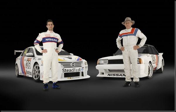 Michael Caruso Nissan Altima V8 Supercar alongside George Fury's original Nissan Bluebird Turbo