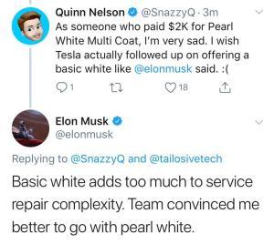 Tesla Simple White Tweet Elon Musk