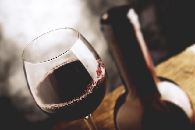 Red Wine Glass and Bottle