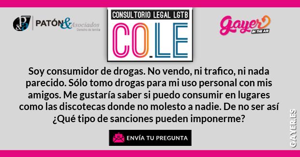 CO.LE CONSULTORIO LEGAL LGTB | TIPO DE SANCIÓN POR CONSUMO DE DROGAS