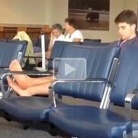 Twink Airs Out His Bare Feet At The Airport