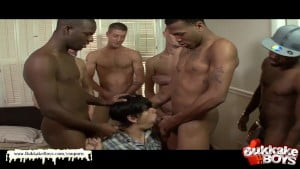 Bukkake boy gets shared between a groups of horny studs