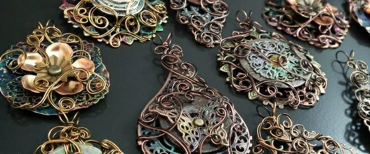 Tribal/Steampunk Filigree Pendants