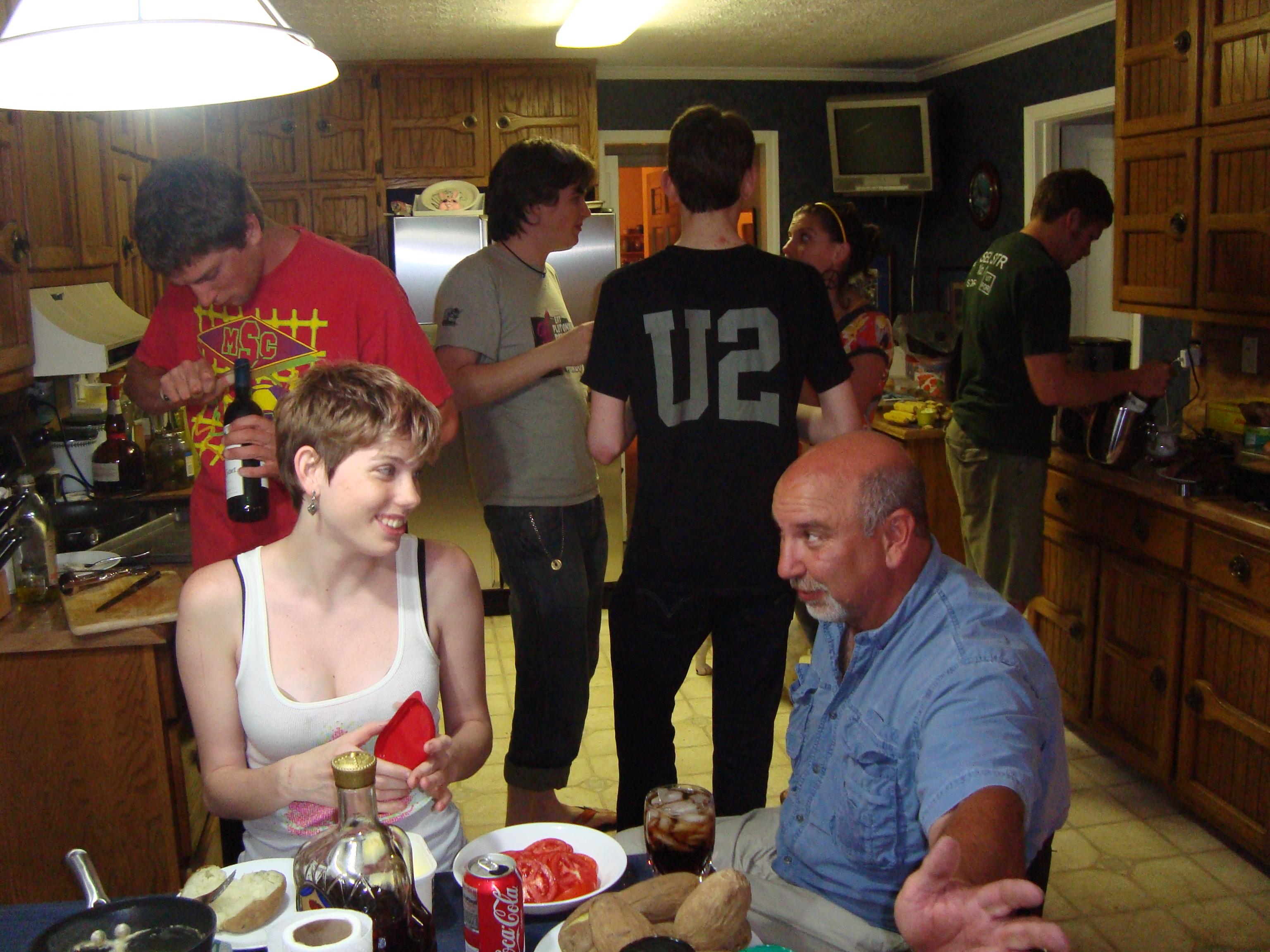daughter Glenda, brother Eric, son Ben, son Sam, daughter Amy, boyfriend Sam, friend Mikey