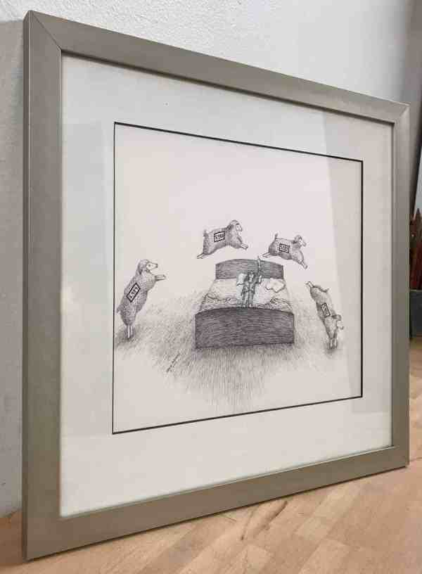 Insomnia Sheep Counting, framed