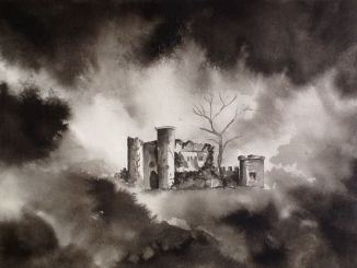 """""""Castle in the Clouds"""" - 16x20 - Ink on paper"""