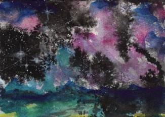 """Night Sky"" - 5"" x 7"" - India ink & watercolor"
