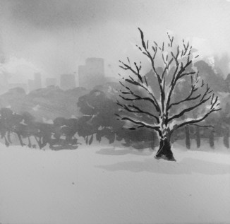 """""""City in the Snow"""" - 6x6 - India ink on watercolor paper"""