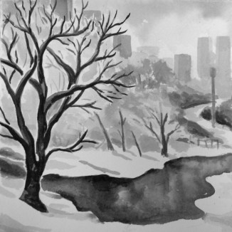 """""""Cold Day in the Park"""" - 6x6 - India ink on watercolor paper [SOLD]"""