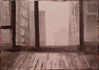"""""""Room with a View""""- - 4x6 - India ink on watercolor paper"""