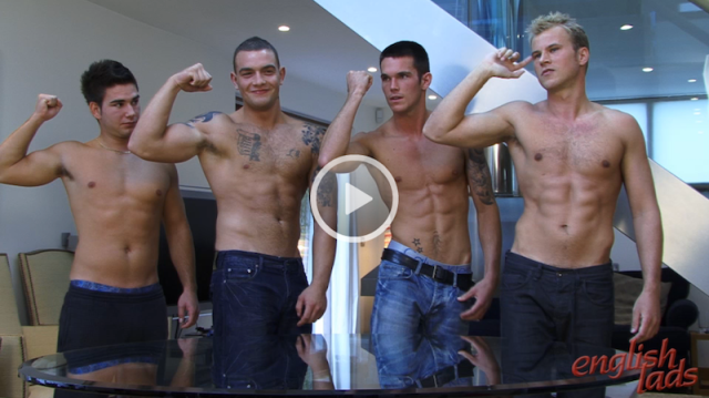 Hung Andy Lee gets his cock out with three other guys for a group wank off