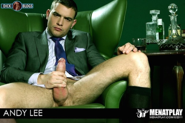 Hung gay porn star Andy Lee jacking off in a suit for Men at Play