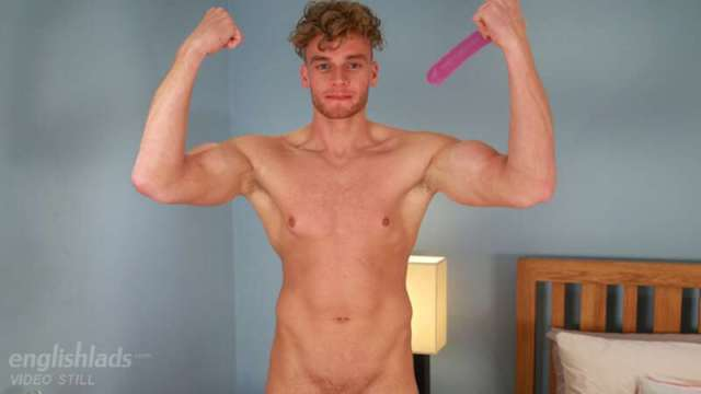 straight hunk Noah Miller tries a dildo and cums hard jerking off for the Englishlads gay porn site