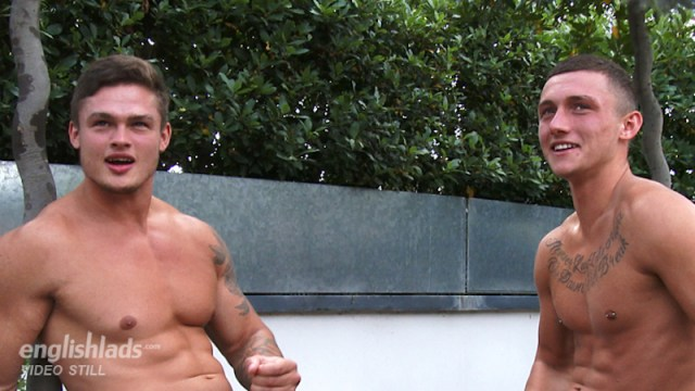 Muscled straight guy Jamie Black wanking with his brother
