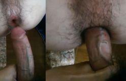 Cu peludo engolindo rola grossa