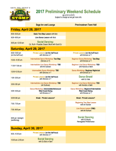 Preliminary 2017 Spring Stomp Schedule