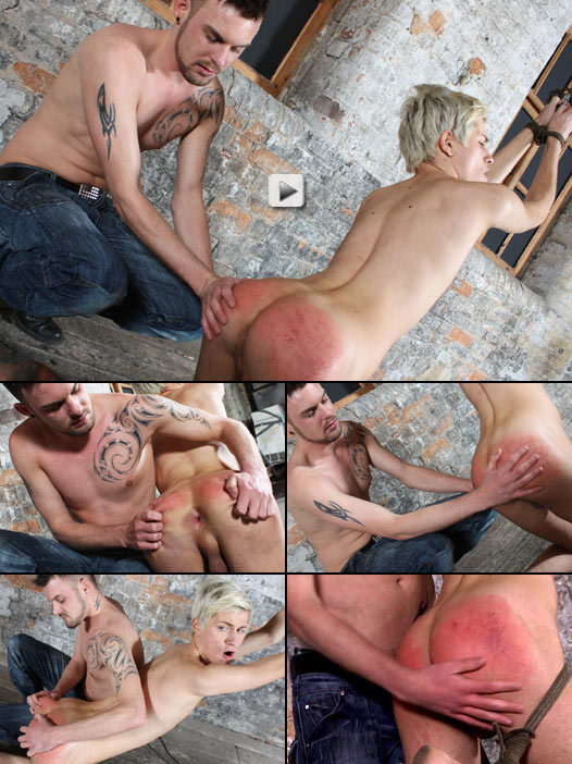 Blond twink Skyler Blu gets his round butt spanked