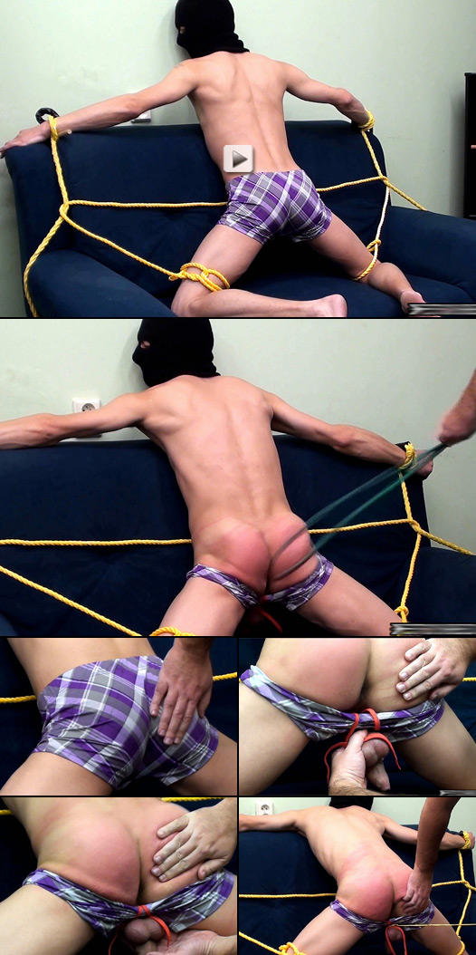 hooded twink gets a hell of a bare ass spanking