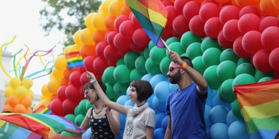 Giant balloon rainbow at Sofia Pride.