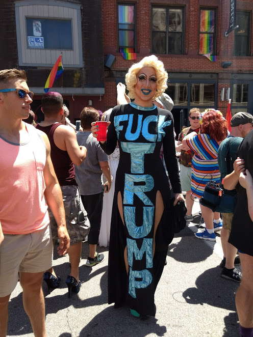 Drag queen in a Fuck Trump dress