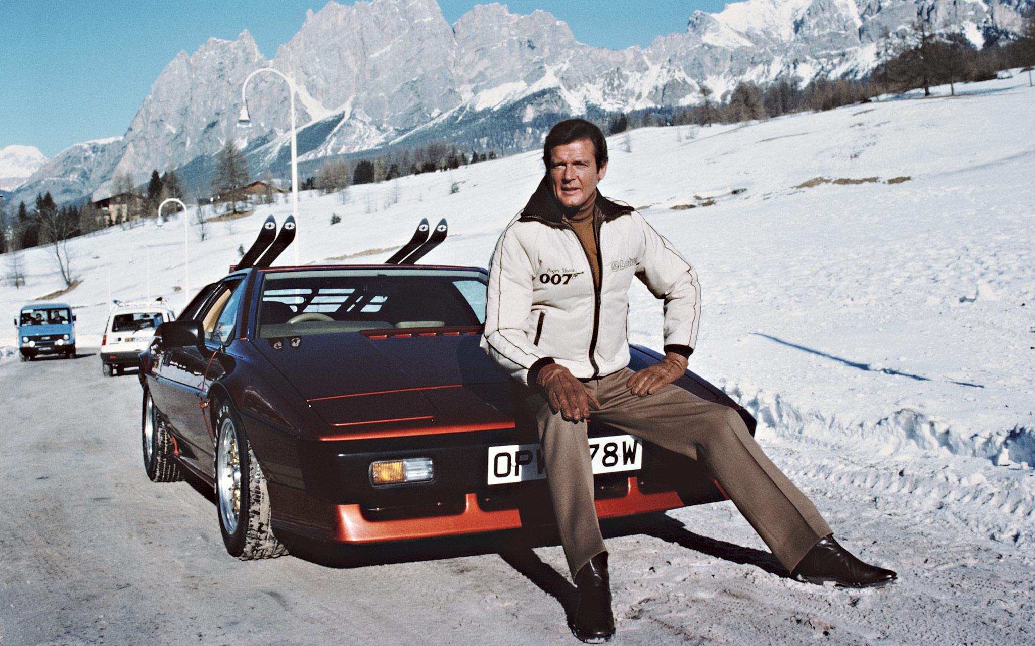 Roger Moore as James Bond astride a Lotus Esprit Turbo