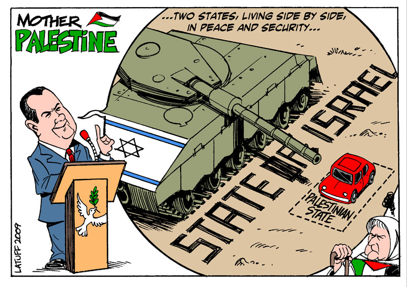 Image result for caricature two-state solution